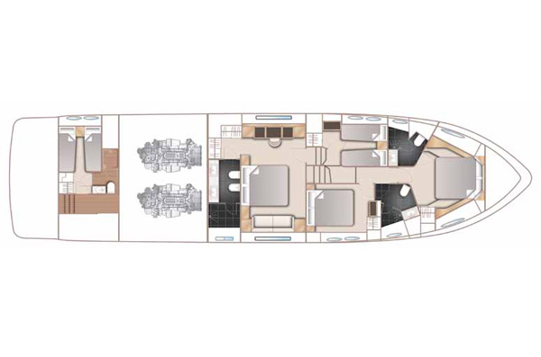 Princess 72 Lower Deck